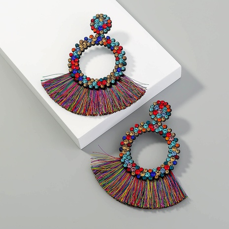 new style bohemian fashion creative exaggerated round tassel earrings NHAN349006's discount tags