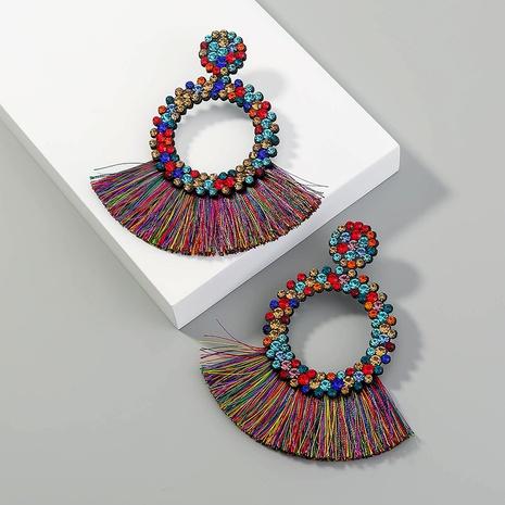Pendientes redondos exagerados creativos de la moda bohemia del nuevo estilo NHAN349006's discount tags