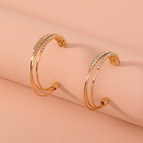 Pendientes de diamantes multicapa en forma de C simples de nuevo estilo de moda NHAN349009's discount tags