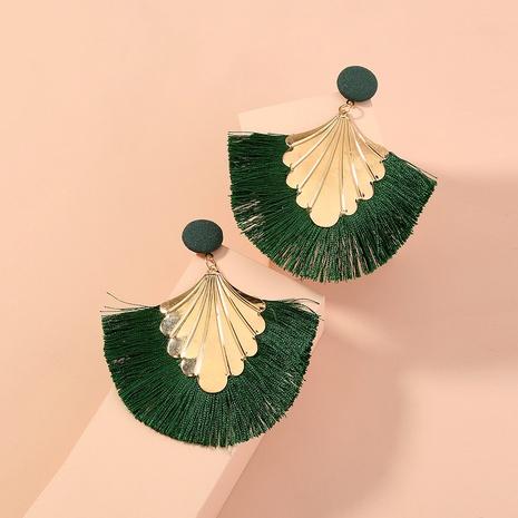 moda creativa exagerada bohemia borla verde pendientes geométricos NHAN349010's discount tags