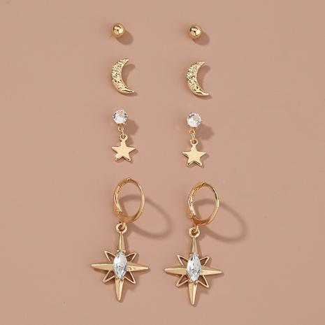 Pendientes de luna estrella geométrica simple de todos los fósforos de nueva moda NHAN349018's discount tags