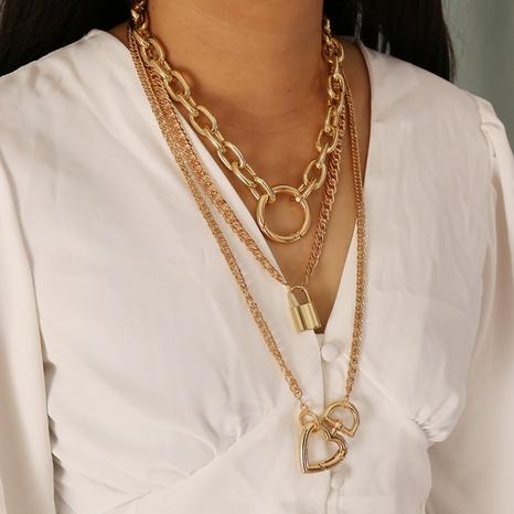 Collier en alliage à boucle ronde en forme de coeur à la mode en gros NHBW349031's discount tags