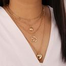 Fashion water drop heartshape multilayer alloy necklace wholesale NHBW349033