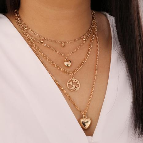 Collier en alliage multicouche en forme de coeur goutte d'eau à la mode en gros NHBW349033's discount tags