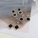 925 Silver Needle Black new fashion Round Geometric Earrings  NHWB349053