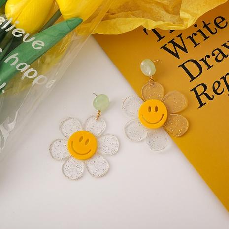 Pendientes de flores transparentes de acrílico con cara sonriente amarilla de verano NHMS349077's discount tags
