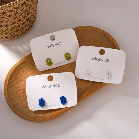 nouvelle mode coréenne 925 aiguille en argent saphir boucle d'oreille fleur bleue NHMS349085's discount tags