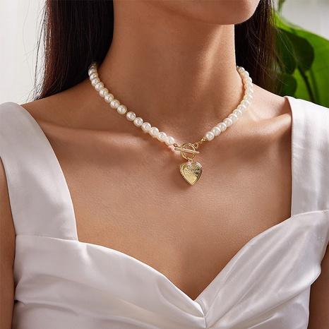 Collier en alliage de perles en forme de coeur en gros NHPF349109's discount tags