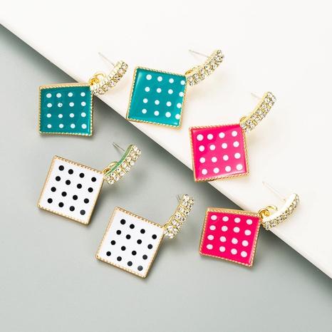 S925 boucles d'oreilles à point de vague de diamant géométrique simple de mode de style d'aiguille en argent NHLN349128's discount tags