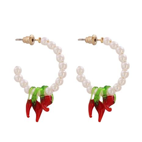 Pendientes en forma de C de perlas semicirculares de moda NHJJ349153's discount tags