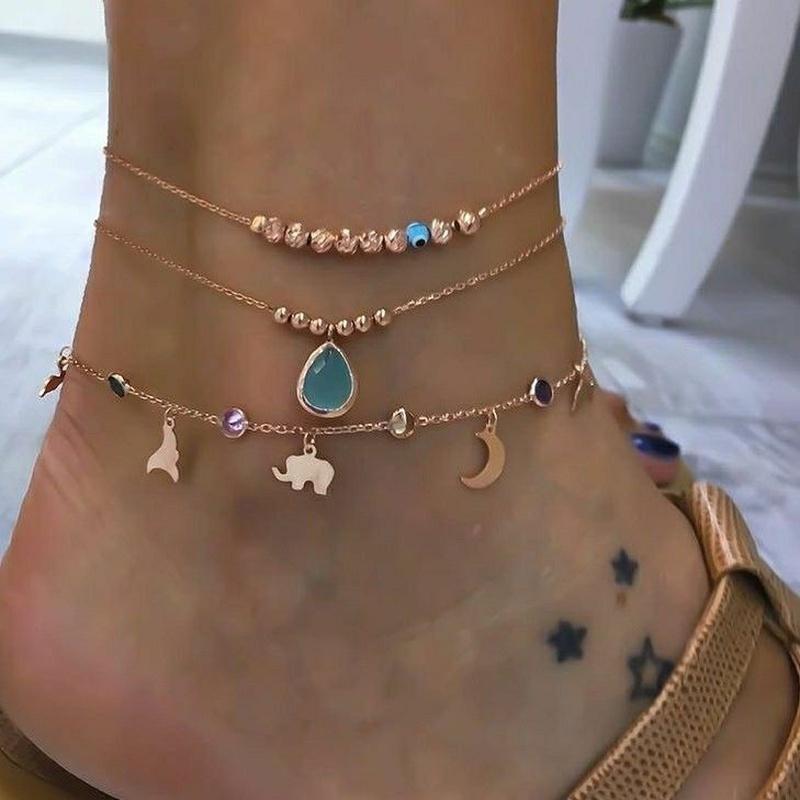 fashion new style elephant drop pendant womens anklet NHAJ349210