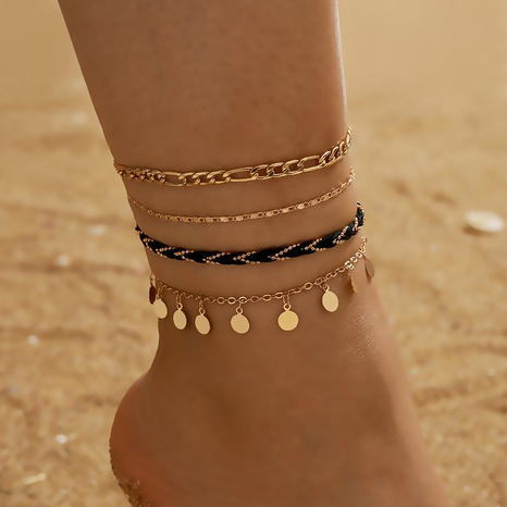 creative fashion style new metal chain disc tassel braided anklet 4-piece set NHGY348859's discount tags