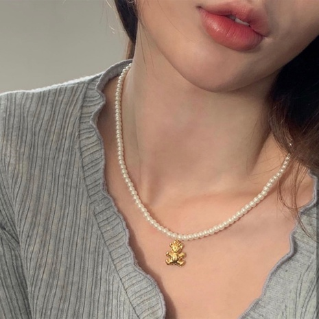 Korea golden bear pearl alloy necklace wholesale NHANR349258's discount tags