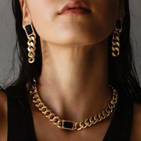 Boucles d'oreilles en alliage à chaîne épaisse en agate noire carrée NHANR349302's discount tags