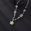 Fashion mahjong pill cross smile lucky star alloy necklace NHANR349311