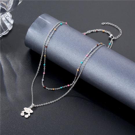 Collier en acier au titane à double couche d'ours de mode en gros NHAC349445's discount tags