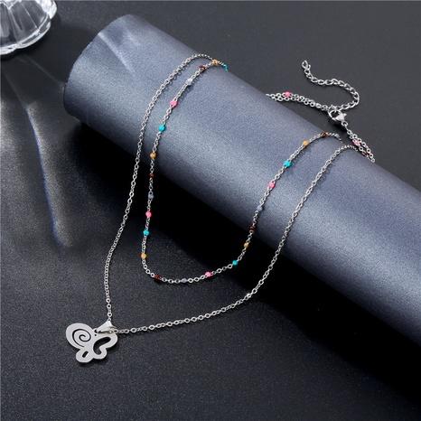 Collier en acier titane double couche papillon coréen brillant en gros NHAC349446's discount tags
