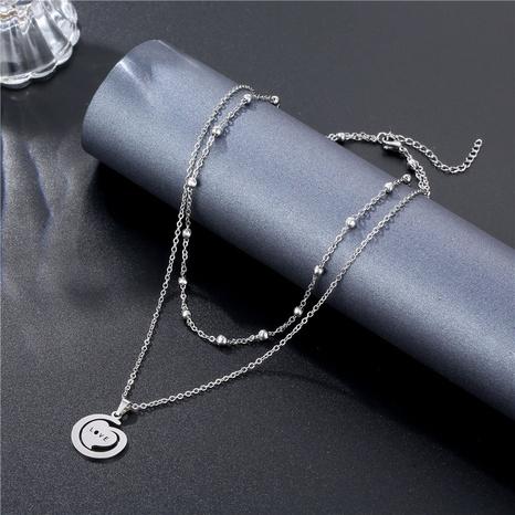 Collier en acier titane double couche simple lettre LOVE en gros NHAC349447's discount tags