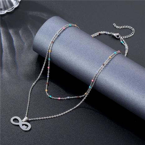 Collier en acier inoxydable à double couche géométrique à la mode en gros NHAC349449's discount tags