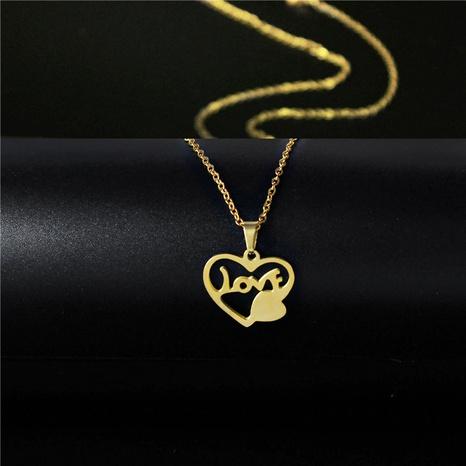 Collier en acier inoxydable brillant en forme de coeur en gros NHAC349450's discount tags