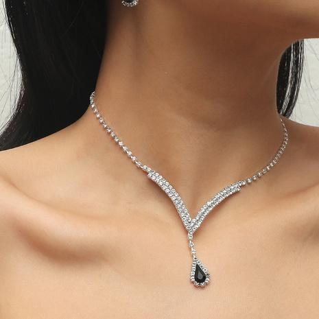Los pendientes geométricos del collar de la aleación del descenso del agua del diamante artificial de la moda fijaron al por mayor NHIQ349460's discount tags