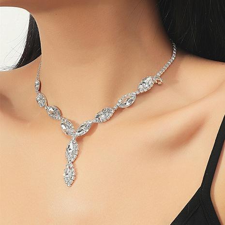Los pendientes del collar de la aleación del descenso del agua del diamante artificial de la moda fijaron al por mayor NHIQ349461's discount tags