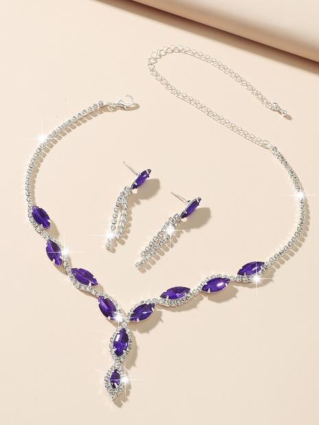 Pendientes de collar de aleación de cristal púrpura de gota de agua de moda al por mayor fijados NHIQ349462's discount tags