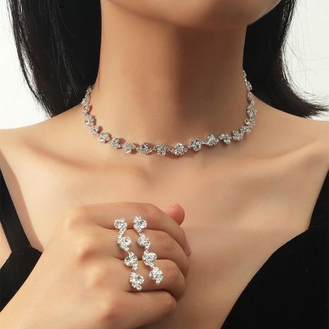 Los pendientes geométricos del collar de la aleación del diamante artificial de la moda fijaron al por mayor NHIQ349463's discount tags