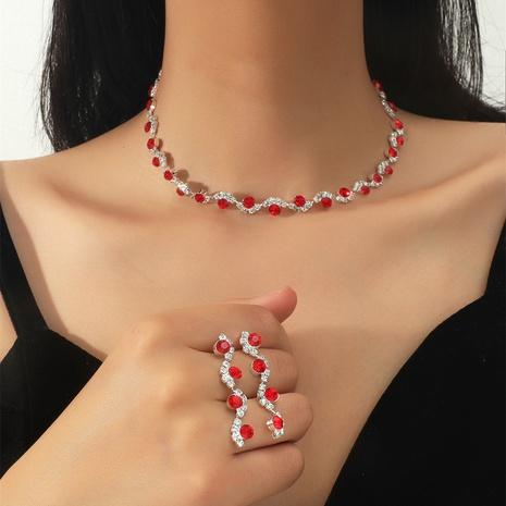 Los pendientes geométricos del collar de la aleación del rubí del diamante artificial de la moda fijaron al por mayor NHIQ349464's discount tags