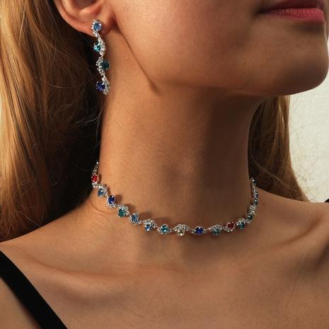Los pendientes del collar de la aleación de la piedra preciosa del color de la moda fijaron al por mayor NHIQ349465's discount tags
