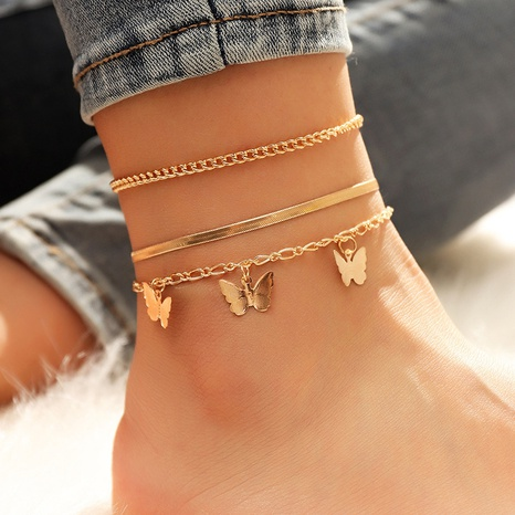 Simple three-layer chain butterfly pendant anklet set NHPF349472's discount tags