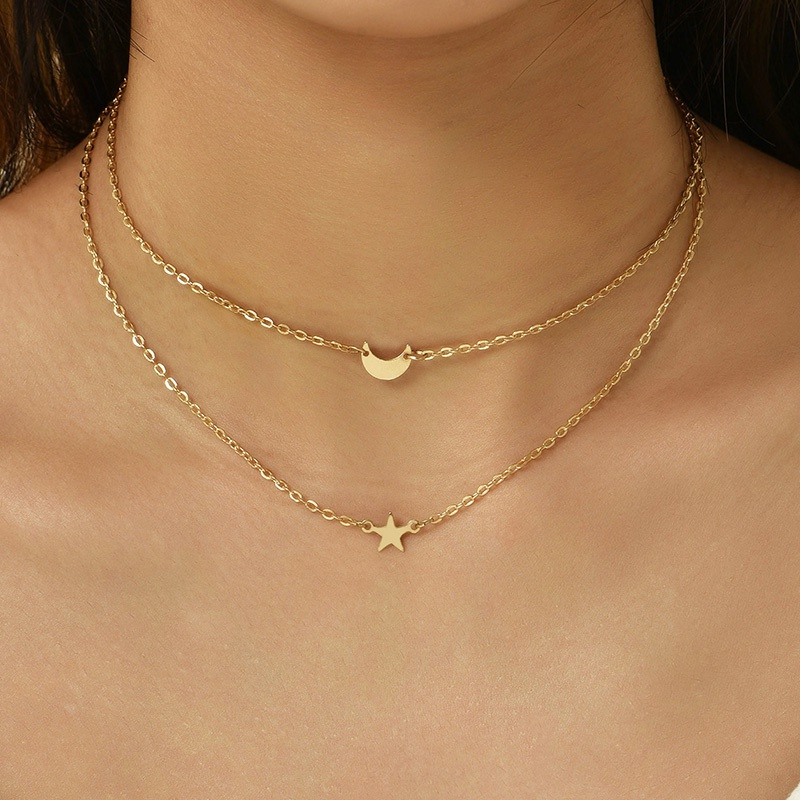 Simple Crescent Star Shape Womens Double Layer Necklace NHAJ349903