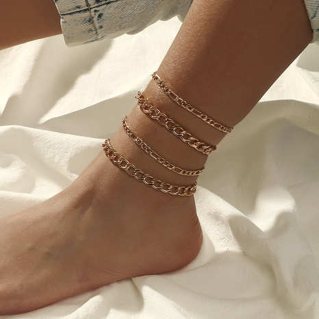 fashion retro punk hip-hop style thick chain 4-piece anklet NHKQ349500's discount tags