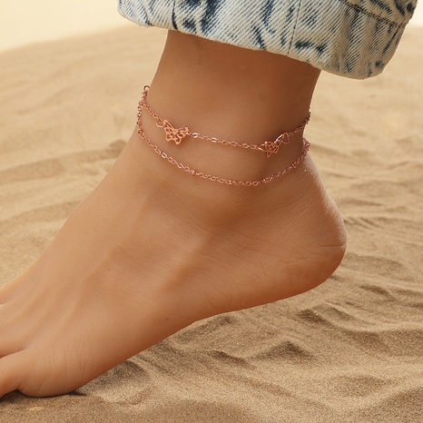 Simple fashion style multilayer hollow butterfly anklet  NHKQ349510's discount tags