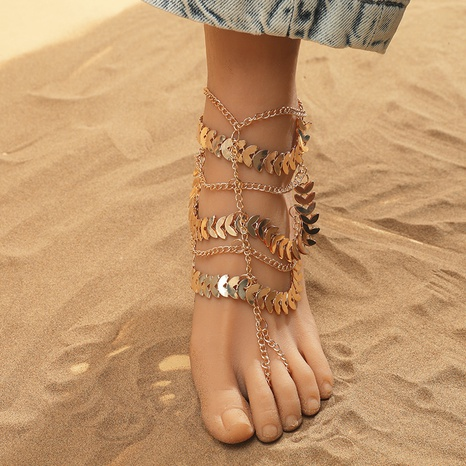 Fashion retro bohemian ethnic multi-layer alloy leaf anklet  NHKQ349511's discount tags