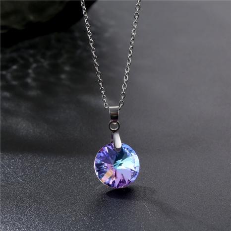 Collier en acier titane cristal violet mode en gros NHAC349533's discount tags