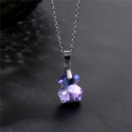 Collier en acier titane cristal simple ours en gros NHAC349534's discount tags