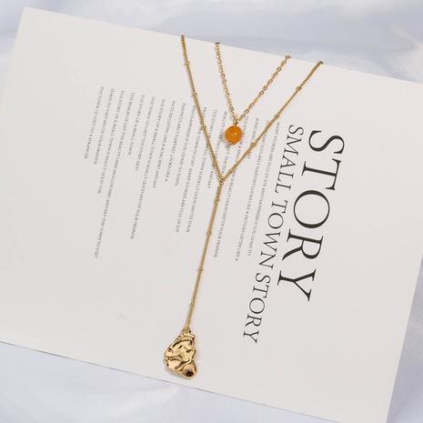 Modische goldgelbe Halskette aus Naturstein NHAN349549's discount tags