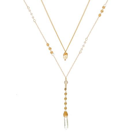Mode transparente Naturstein lange doppelschichtige Legierung Halskette NHAN349560's discount tags