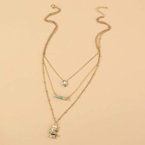 Collar de múltiples capas de piedra natural irregular de moda al por mayor NHAN349562's discount tags