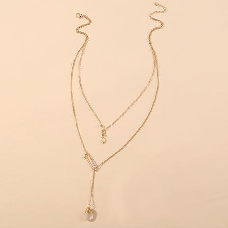 Collier multicouche en pierre naturelle transparente à la mode coréenne NHAN349567's discount tags