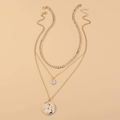 nouveau collier multicouche croisé rétro portrait rond NHAN349563's discount tags