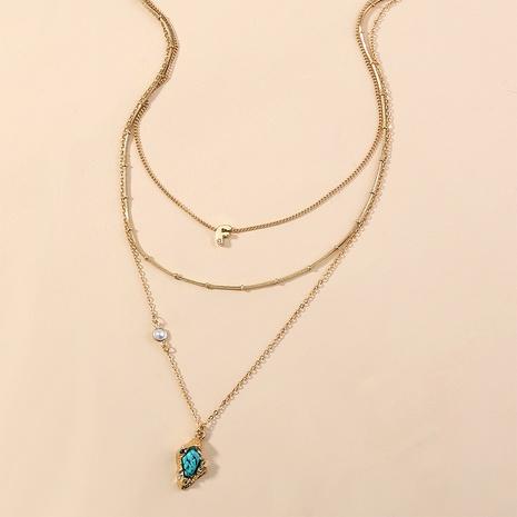 collier multicouche à pendentif turquoise micro-incrusté de mode bohème NHAN349575's discount tags
