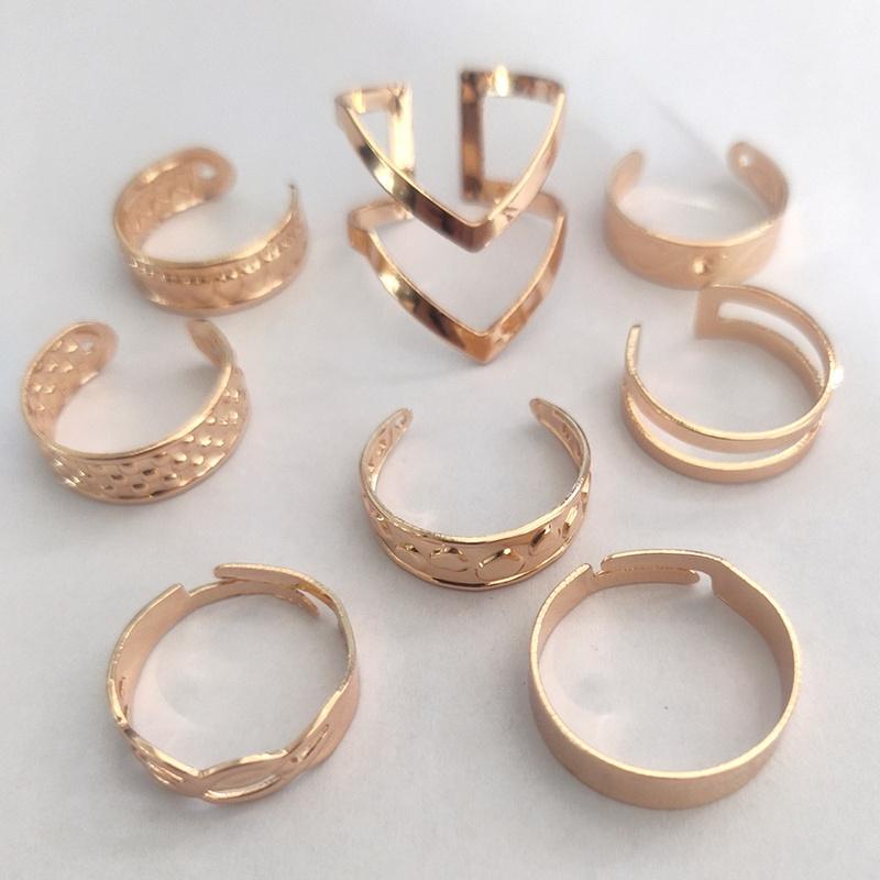Fashion geometric alloy rings 8piece set NHLL349605