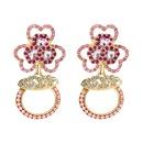 fashion clover flower alloy inlaid rhinestone earrings  NHLN349632