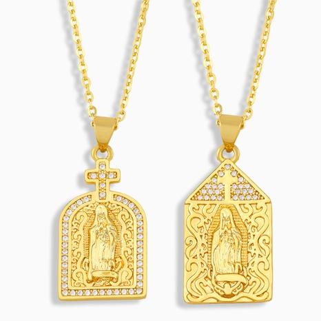 Collier de zircon incrusté de cuivre à la mode Vierge Marie en gros NHAS349651's discount tags