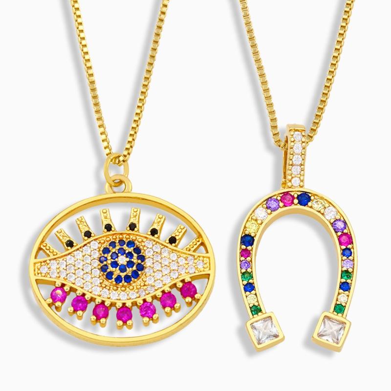 Fashion geometric emoji copper necklace wholesale NHAS349653