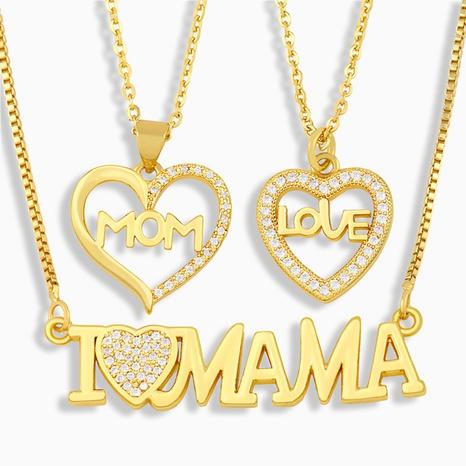 Lettres de mode Mama collier de zircon incrusté de cuivre en gros NHAS349657's discount tags