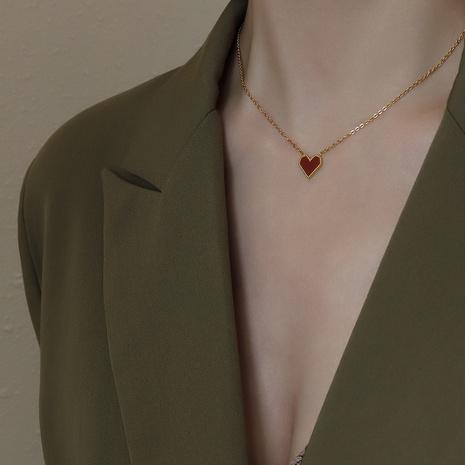 Collier en acier inoxydable en forme de coeur en gros NHOK349669's discount tags
