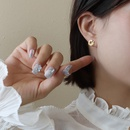 Korean style titanium steel leaf earrings wholesale NHOK349673
